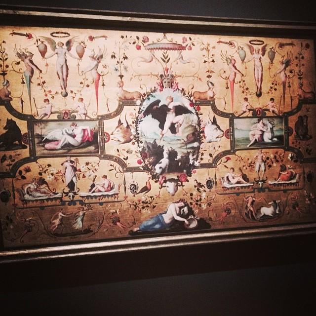 Alessandro Allori (Florence, 1535 – Florence,  1607)  Dossier de lit avec scènes mythologiques et  grotesques  1572  huile sur bois ; 139 x 232 cm  Florence, Museo Nazionale del Bargello,  collection Carrand