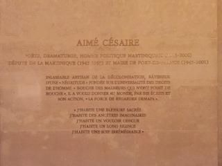 Plaque hommage à Aimé Césaire