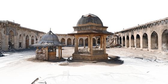 Image 3D de la cour de la mosquée des Omeyyades d'Alep, Syrie, mission d'avril 2017 © Iconem / DGAM