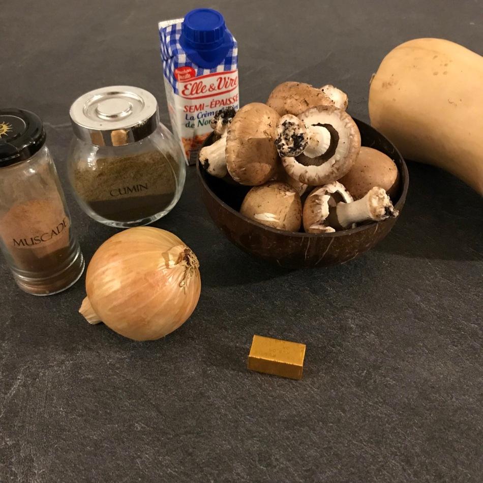 Velouté de courge butternut et champignons
