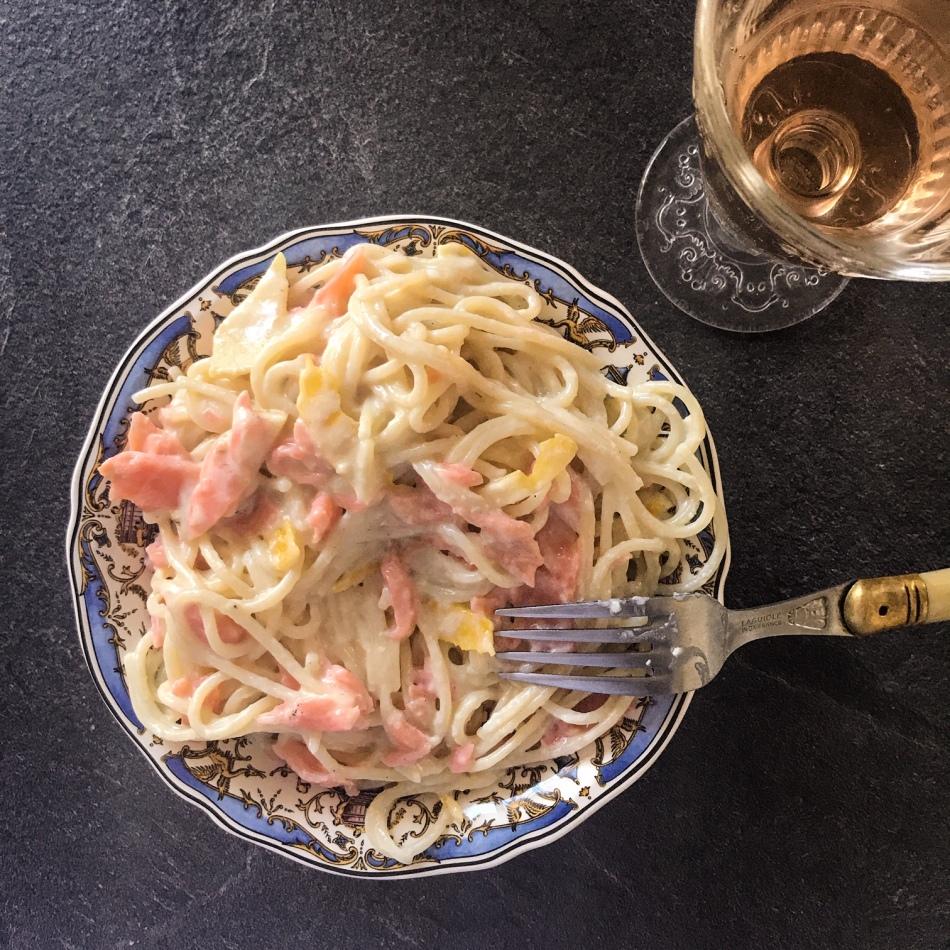 Spaghetti au saumon et au citron